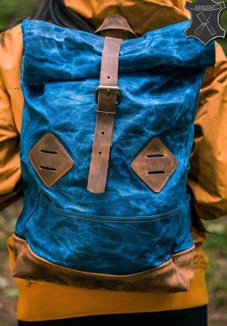 batoh eduard roll top rolltop rol ruksak vak bag voskovane platno bavlna koza koža leather bereta berkozu koziar liptov bereta kožiar vyroba z koze
